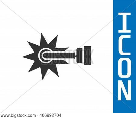 Grey Cowboy Horse Riding Spur For Boot Icon Isolated On White Background. Vector