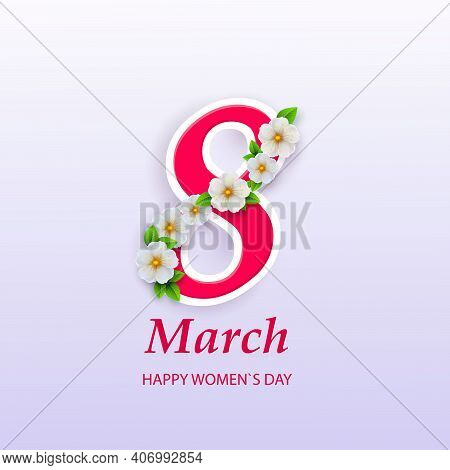 March 8. International Women Day. Vector Spring Holiday Illustration. Paper Cutout Number Eight With