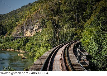 Thai-burma Railway Death Railway.line Railway World War 2 In Kanchanaburi Thailand