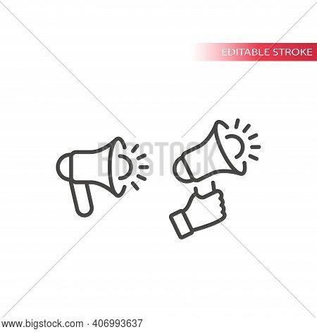 Megaphone Or Loudspeaker Line Vector Icon. Hand Holding Bullhorn Or Blow Horn Outline Symbol, Editab
