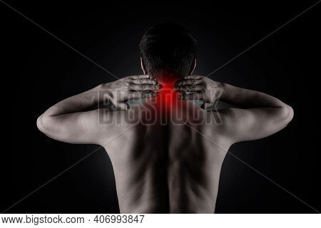 Neck Pain, Man With Backache On Black Background