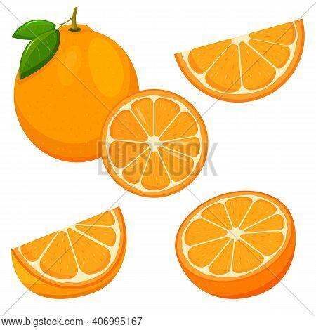 Set Of Fresh Whole, Half, Cut Slice Orange Fruit Isolated On White Background. Tangerine. Organic Fr