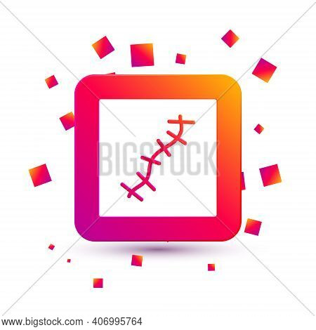 White Scar With Suture Icon Isolated On White Background. Square Color Button. Vector