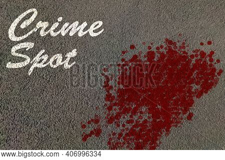 Crime Spot Text With Blood Drop Strains On Road With Texture Background , Crime Scene Background Con