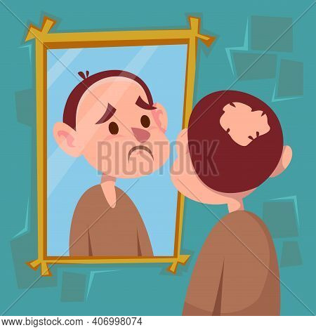 Baldness Problem, Cartoon Man Looking In The Mirror, Hair Loss, Vector Illustration