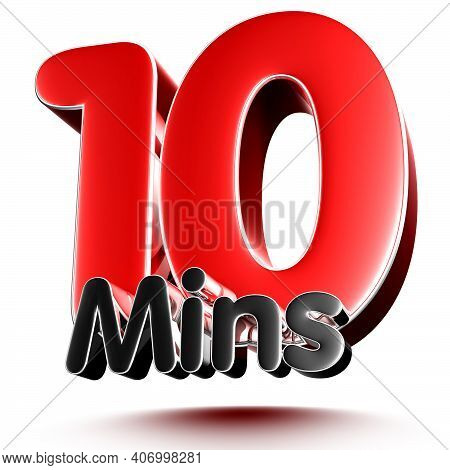 10 Mins Isolated On White Background Illustration 3D Rendering With Clipping Path.