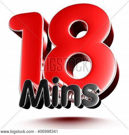 18 Mins Isolated On White Background Illustration 3D Rendering With Clipping Path.
