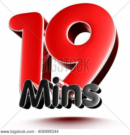 19 Mins Isolated On White Background Illustration 3D Rendering With Clipping Path.