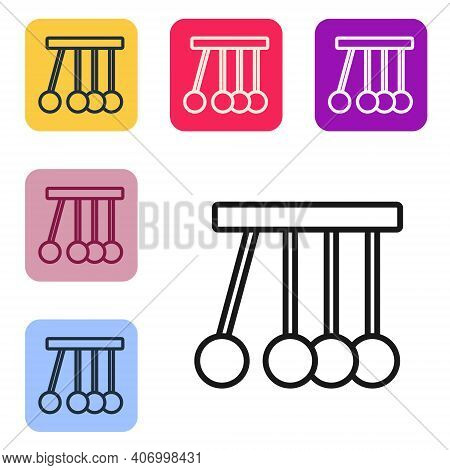 Black Line Pendulum Icon Isolated On White Background. Newtons Cradle. Set Icons In Color Square But
