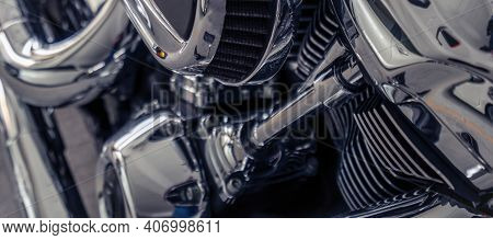 Selective Focus On A Motorcycle Engine. Shiny Chrome Motorbike Engine Detail. Vintage Motorbike. Clo