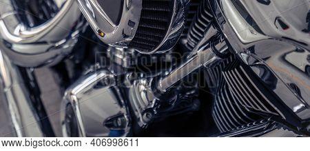 Selective Focus On A Motorcycle Engine. Shiny Chrome Motorbike Engine Detail. Vintage Motorbike. Clo