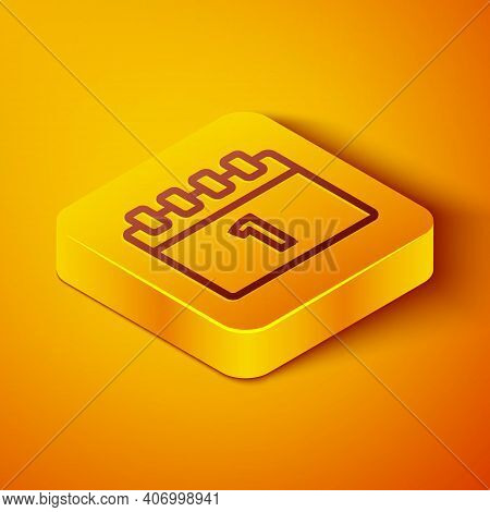 Isometric Line Calendar With First September Date Icon Isolated On Orange Background. September 1. D