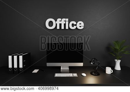 Modern Clean Office Workspace With Computer Screen And Dark Concrete Wall; Office Lettering; 3d Illu
