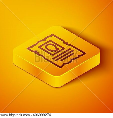 Isometric Line Wanted Western Poster Icon Isolated On Orange Background. Reward Money. Dead Or Alive