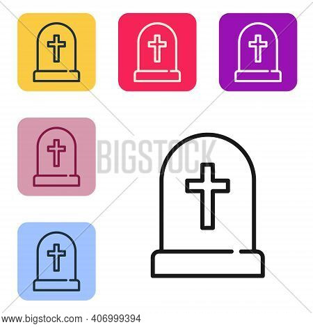 Black Line Tombstone With Cross Icon Isolated On White Background. Grave Icon. Happy Halloween Party