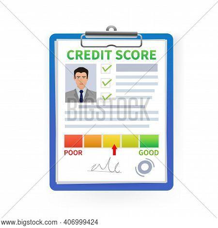 Credit Report. Business Card. Online Concept. Financial Chart. Online Concept.
