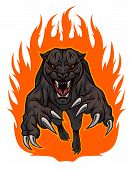 Snarling panther jumped out of the fire. poster