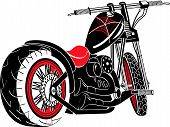 Motorcycle Clip Art of a Vintage Style Custom Chopper poster