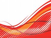 abstract halftone wave background with red wave line. poster