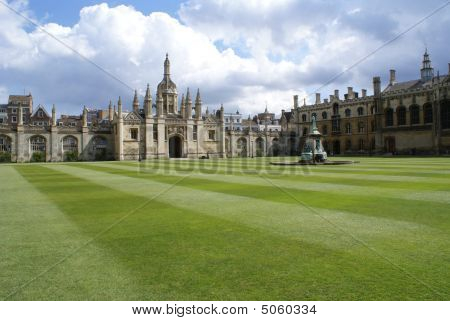 Fountain And Lawn In King's College, Cambridge