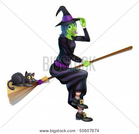 A friendly cartoon Halloween witch flying on her broom stick with her cute black cat poster