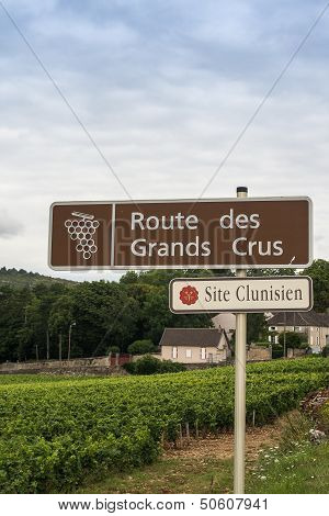 Wine Route Sign In France