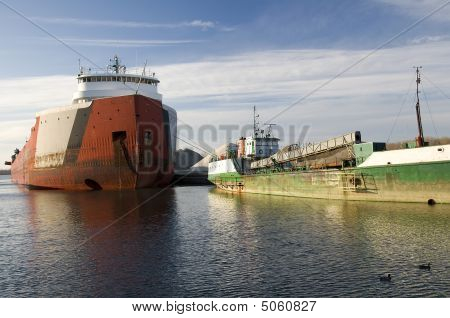 Freight Ship And Tug On Lake Erie