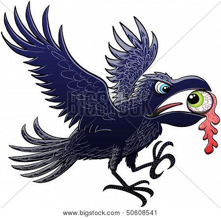 Crow stealing an eyeball