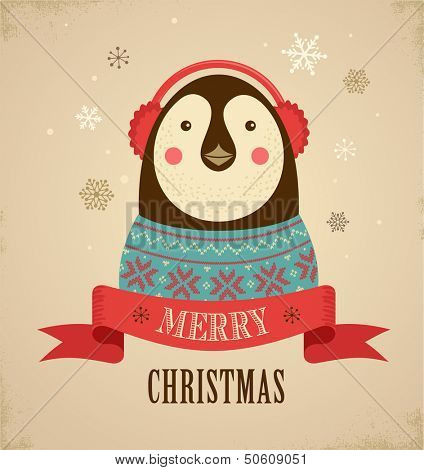 Christmas background and greeting card with hipster penguin