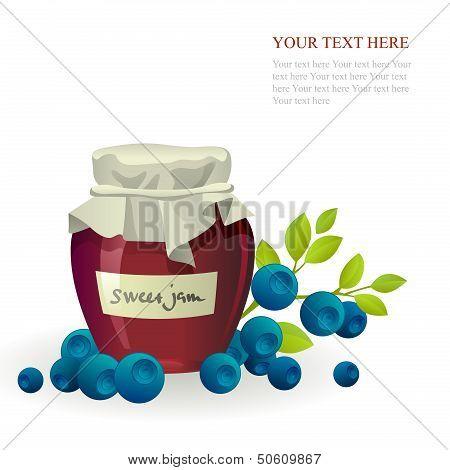 Blueberry jam jar with fresh berry