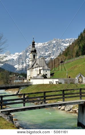 Parish Church St. Sebastian With The Reiter Alpe In Ramsau