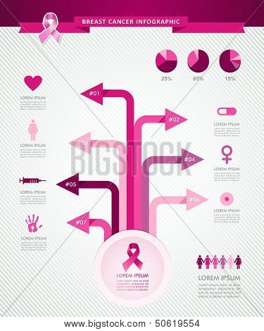 Breast Cancer Awareness Ribbon Tree Infographics Template Eps10 File.
