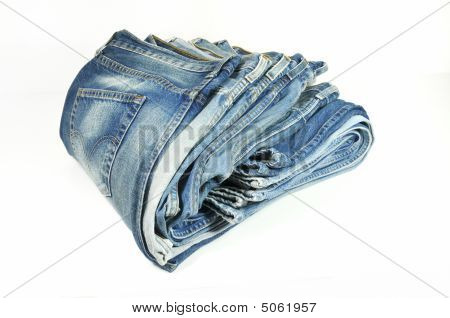 Folded Washed-out Blue Denim Jeans