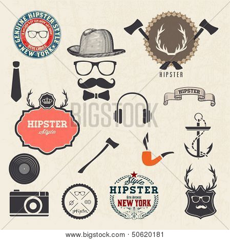 Hipster style design elements and icons set. Sunglasses, mustache, bow, anchor, hat, camera. Vector illustration. Organized in layers.