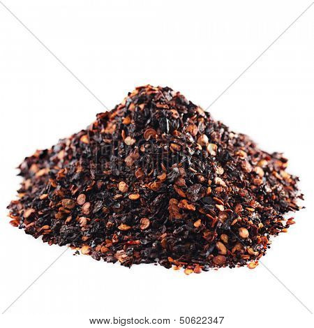 chipotle - jalapeno smoked chili pile isolated on white poster