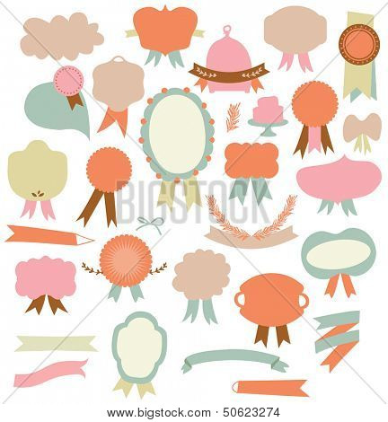 Set of retro ribbons labels design elements