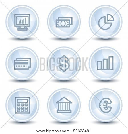 Finance web icons set 1, light blue glossy circle buttons