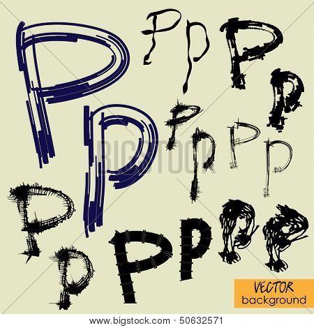 art sketch set of vector character fonts symbols, sign P
