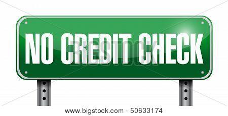No Credit Check Road Sign Illustration Design