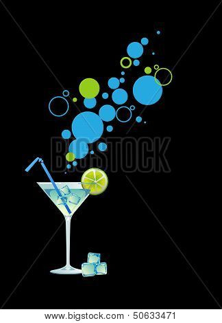 Martini with ice and lime.
