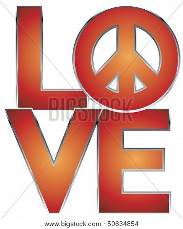 Love=Peace in Red