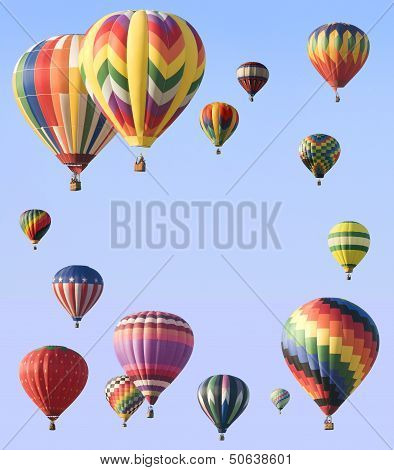 Hot-air Balloons Arranged Around Edge Of Frame
