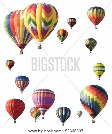 Hot-air Balloons Arranged Around Edge Of Frame Allowing Space For Text