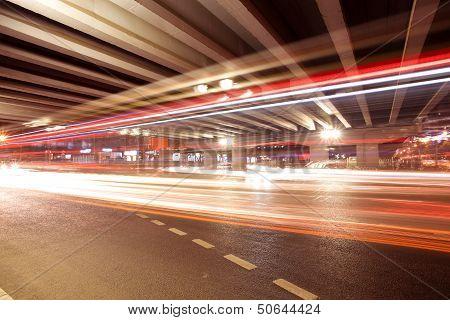 Light Trails Under The Viaduct Bridge