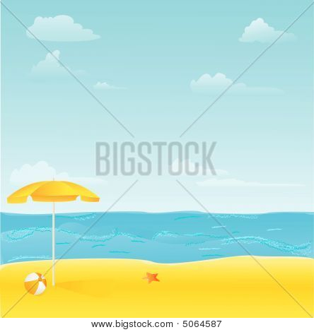 Beach With Umbrella,ball And Starfish Illustration