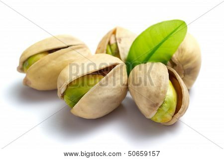 Pistachio Nuts With Leaf