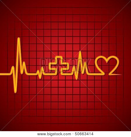 Heartbeat make medical and heart symbol