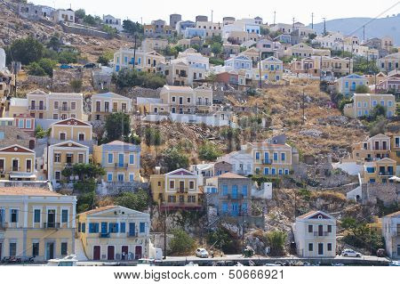 Houses On A Hill In The Island Of Symi, Greece