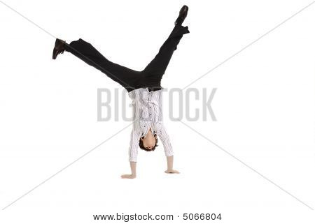 Business Woman Doing A Cartwheel