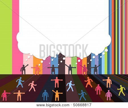 People icons talking bubble cloud communication design template. EPS 10 vector poster